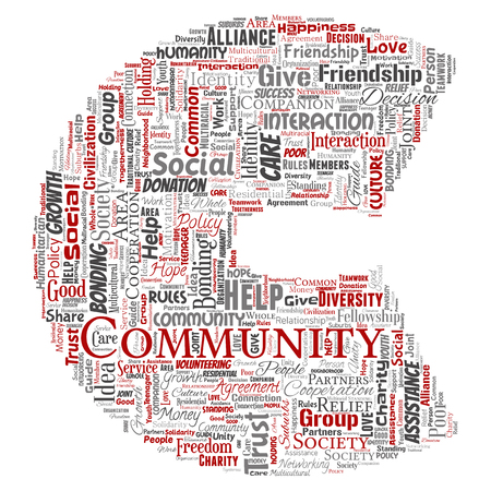 Vector conceptual community, social, connection letter font C red word cloud isolated background. Collage of group, teamwork, diversity, friendship, communication, inclusion, care, respect concept