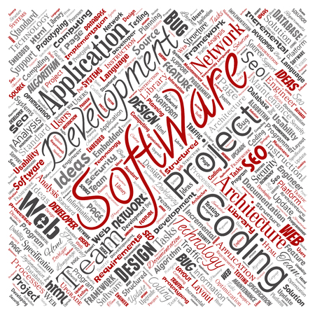 Vector conceptual software development project coding technology square red word cloud isolated background. Collage of application web design, seo ideas, implementation, testing upgrade concept Vektorové ilustrace