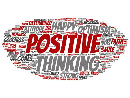 Vector concept, conceptual positive thinking, happy strong attitude abstract word cloud isolated on background. Collage of optimism smile, faith, courageous goals, goodness, happiness inspiration text