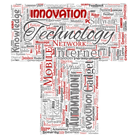 Vector conceptual digital smart technology, innovation media letter font T word cloud isolated background. Collage of information, internet, future development, research, evolution or intelligence 向量圖像