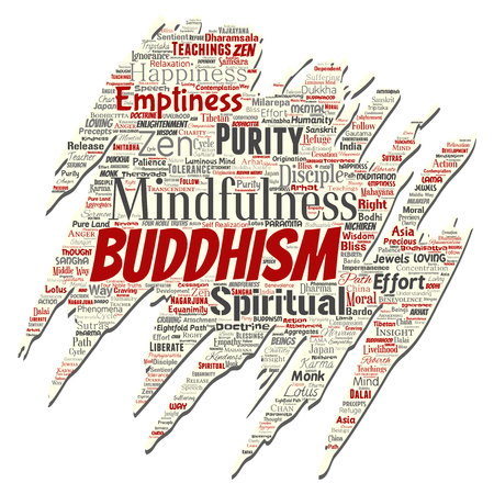Vector conceptual buddhism, meditation, enlightenment, karma old torn paper word cloud isolated background. Collage of mindfulness, reincarnation, nirvana, emptiness, bodhicitta, happiness concept Vettoriali