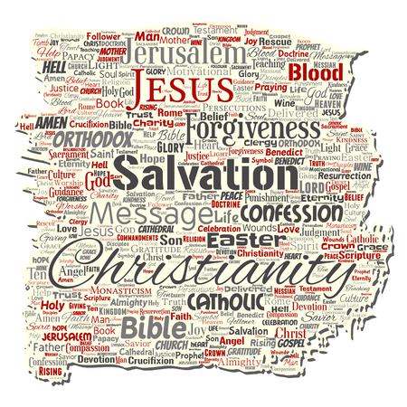 Vektorkonzeptionelles Christentum, Jesus, Bibel, Testament alte zerrissene Papierwortwolke lokalisierter Hintergrund. Collage aus Lehren, Erlösung, Auferstehung, Himmel, Beichte, Vergebung, Liebeskonzept
