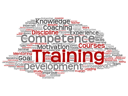Vector concept or conceptual training, coaching or learning, study word cloud isolated on background. Collage of mentoring, development, motivation skills, career, potential goals or competence text