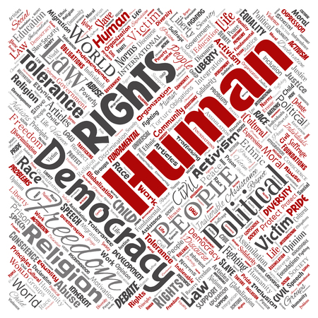 Vector conceptual human rights political freedom, democracy square red  word cloud isolated background. Collage of humanity tolerance, law principles, people justice or discrimination concept