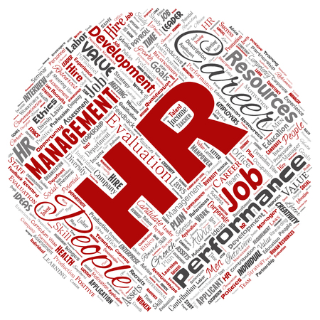 Vector concept conceptual hr or human resources career management round circle red word cloud isolated background. Collage of workplace, development, hiring success, competence goal, corporate or job