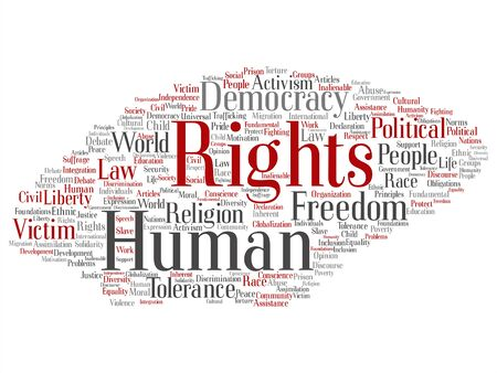 Vector concept or conceptual human rights political freedom, democracy abstract word cloud isolated background. Collage of humanity world tolerance, law principles, people justice discrimination text Vettoriali