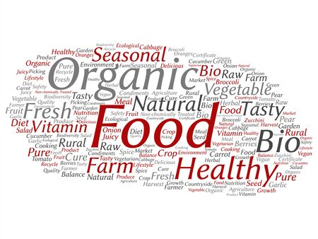 Vector concept conceptual organic food healthy bio vegetables abstract word cloud isolated background. Collage of natural, fresh tasty farm agriculture, certificate ecological garden quality crop text