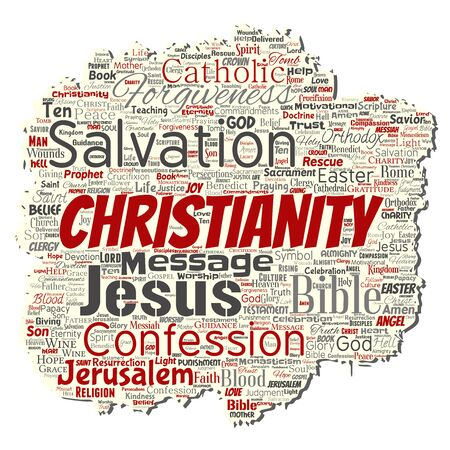 Vector conceptual christianity, jesus, bible, testament old torn paper  word cloud isolated background. Collage of teachings, salvation resurrection, heaven, confession, forgiveness, love concept Illustration