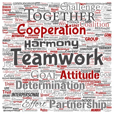 Vector conceptual teamwork management square red partnership idea or success goal word cloud isolated background. Collage of business strategy as group cooperation solution or team concept design