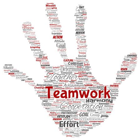 Vector conceptual teamwork management hand print stamp red partnership idea, success goal word cloud isolated background. Collage of business strategy, group cooperation solution or team concept
