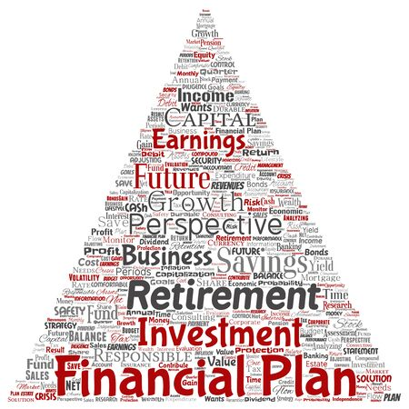 Vector conceptual business or personal financial plan triangle arrow red finance strategy word cloud isolated background. Collage of income money investment, future retirement security concept design Illustration