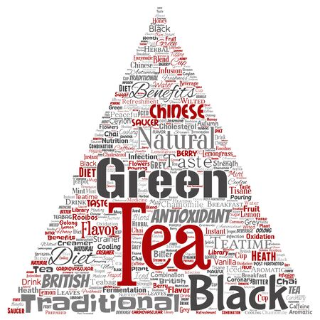 Vector conceptual green or black tea beverage culture triangle arrow red natural flavor, taste variety word cloud isolated background. Collage of traditional medicine health or diet benefit concept 일러스트