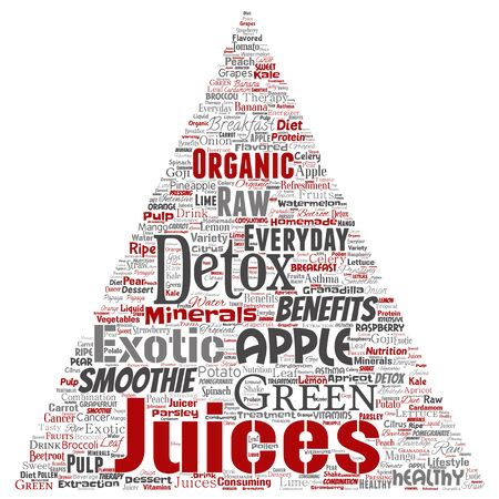 Vector conceptual fresh natural fruit or vegetable juices triangle arrow red healthy diet organic beverage word cloud isolated background. Collage of green exotic, tropical raw nutrition concept