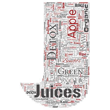 Vector conceptual fresh natural fruit or vegetable juices letter font red healthy diet organic beverage word cloud isolated background. Collage of green exotic, tropical raw nutrition concept