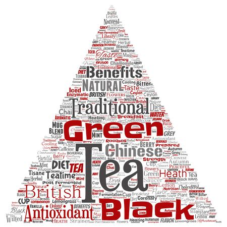 Vector conceptual green or black tea beverage culture triangle arrow red natural flavor, taste variety word cloud isolated background. Collage of traditional medicine health or diet benefit concept Stock Illustratie