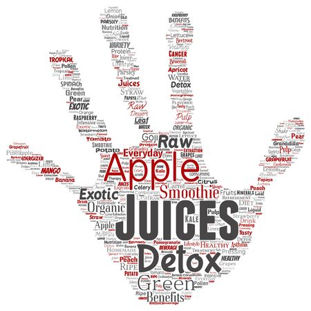 Vector conceptual fresh natural fruit or vegetable juices hand print stamp red healthy diet organic beverage word cloud isolated background. Collage of green exotic, tropical raw nutrition concept Ilustração