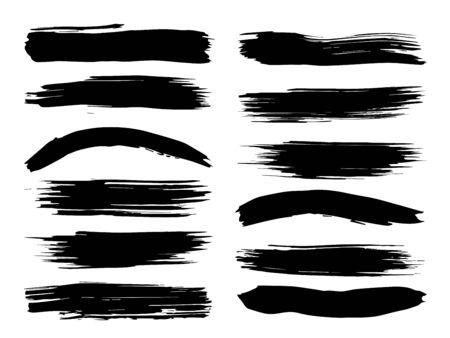 Colección de pintura negra sucia artística hecha a mano creativa pincelada conjunto aislado sobre fondo blanco. Un grupo de bocetos abstractos de grunge para educación de diseño o decoración de arte gráfico
