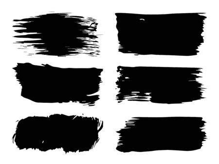 Collection or set of artistic black paint, ink or acrylic hand made creative brush stroke backgrounds isolated on white as grunge or grungy art, education abstract elements frame design
