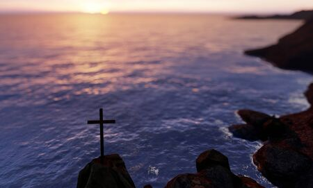 Concept or conceptual religious christian cross standing on rock in the sea or ocean over blue water sunset. A background for faith, religion belief, Jesus Christ, spiritual church 3D illustration Stock Photo