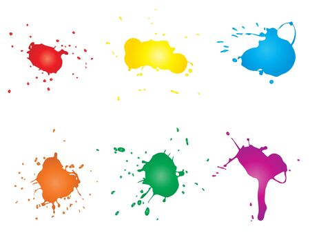 Collection of artistic grungy paint drop, hand made creative splash or splatter stroke set isolated white background. Abstract grunge dirty stains group, education or graphic art decoration Stock Photo