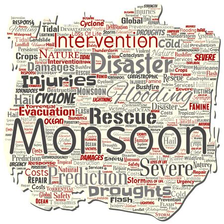 Vector conceptual monsoon dangerous weather old torn paper meteorology word cloud isolated background. Collage of tropical dramatic storm force, strong wind blowing, rain hail thunderstorm concept  イラスト・ベクター素材