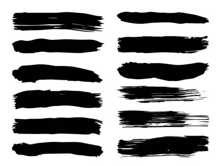 Collection of artistic grungy black paint hand made creative brush stroke set isolated on white background. A group of abstract grunge sketches for design education or graphic art decoration Zdjęcie Seryjne - 125248469
