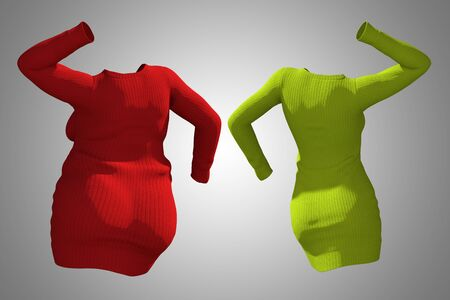 Conceptual fat overweight obese female sweater dress vs slim fit healthy body after weight loss or diet thin young woman on gray. A fitness, nutrition or fatness obesity health shape 3D illustration Stock Photo
