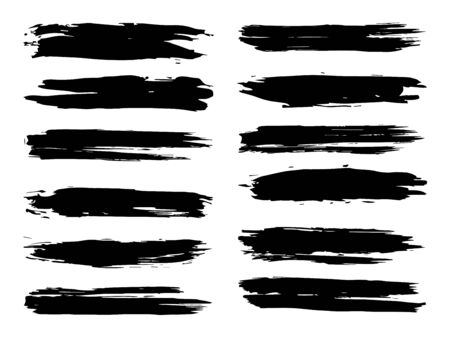 Collection of artistic grungy black paint hand made creative brush stroke set isolated on white background. A group of abstract grunge sketches for design education or graphic art decoration Zdjęcie Seryjne - 125248474