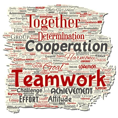 Vector conceptual teamwork management old torn paper red partnership idea, success goal word cloud isolated background. Collage of business strategy, group cooperation solution or team concept