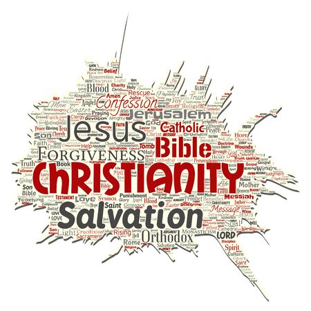 Vector conceptual christianity, jesus, bible, testament old torn paper  word cloud isolated background. Collage of teachings, salvation resurrection, heaven, confession, forgiveness, love concept Illusztráció