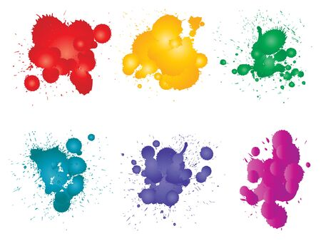 Vektorsammlung künstlerischer grungy Farbtropfen, handgemachter kreativer Spritzer oder Splatterschlagsatz lokalisierter weißer Hintergrund. Abstrakte Schmutzfleckengruppe, Bildung oder Grafikdekoration
