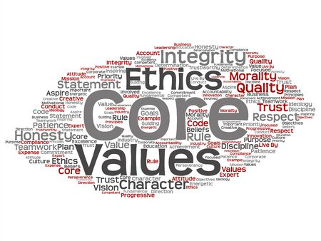 Vector conceptual core values integrity ethics concept abstract word cloud isolated background. Collage of honesty quality trust, statement, character, important perseverance, respect trustworthy text