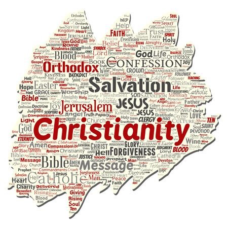 Vector conceptual christianity, jesus, bible, testament old torn paper word cloud isolated background. Collage of teachings, salvation resurrection, heaven, confession, forgiveness, love concept