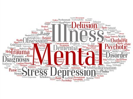 Vector concept conceptual mental illness disorder problem management or therapy abstract word cloud isolated background. Collage of health, trauma, psychology, help, treatment or rehabilitation text