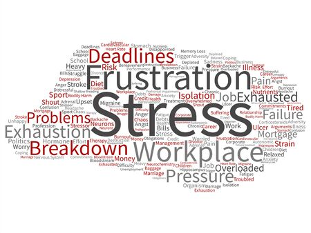 Vector concept conceptual mental stress at workplace or job pressure abstract word cloud isolated background. Collage of health, work, depression problem, exhaustion, breakdown, deadlines risk text 写真素材 - 126678962