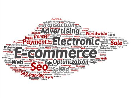 Vector concept or conceptual E-commerce electronic sale abstract word cloud isolated background. Collage of seo optimization transaction, web advertising, e-business, technology, worldwide supply text