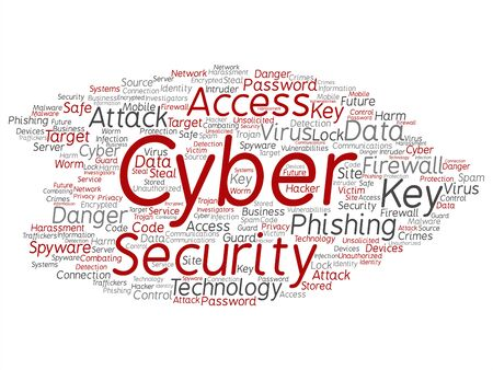 Vector concept or conceptual cyber security access technology abstract word cloud isolated background. Collage of phishing, key virus, data attack, crime, firewall password, harm, spam protection text Ilustração