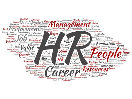 Vector concept conceptual hr or human resources career management abstract word cloud isolated on background. Collage of workplace, development, hiring success, competence goal, corporate or job text Stock Illustratie
