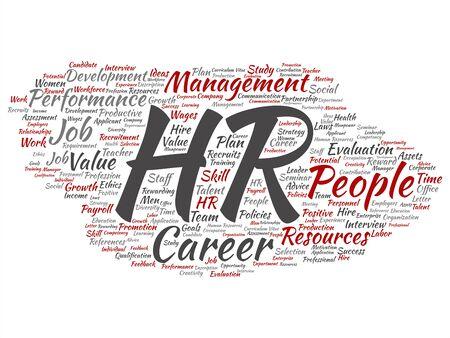 Vektorkonzept konzeptionelle hr oder Human Resources Karrieremanagement abstrakte Wortwolke auf Hintergrund isoliert. Collage aus Arbeitsplatz, Entwicklung, Einstellungserfolg, Kompetenzziel, Unternehmens- oder Stellentext