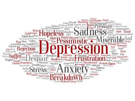 Vector concept conceptual depression or mental emotional disorder problem abstract word cloud isolated background. Collage of anxiety sadness, negative, sad, despair, unhappy, frustration symptom text 版權商用圖片 - 127206576