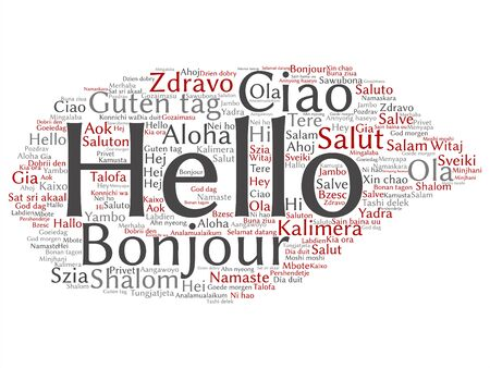 Vector concept or conceptual abstract hello or greeting international tourism word cloud in different languages or multilingual. Collage of world, foreign, worldwide travel, translate, vacation text Ilustração