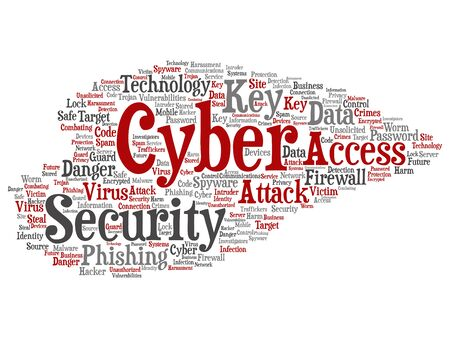 Vector concept or conceptual cyber security access technology abstract word cloud isolated background. Collage of phishing, key virus, data attack, crime, firewall password, harm, spam protection text Banco de Imagens - 128113012