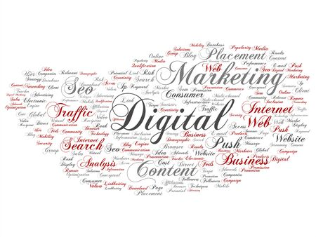Vector concept or conceptual digital marketing seo traffic abstract word cloud isolated on background. Collage of business, market, content, search, web push, placement, communication technology text