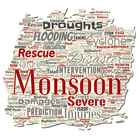 Vector conceptual monsoon dangerous weather old torn paper meteorology word cloud isolated background. Collage of tropical dramatic storm force, strong wind blowing, rain hail thunderstorm concept Illustration