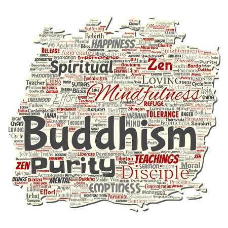 Vector conceptual buddhism, meditation, enlightenment, karma old torn paper word cloud isolated background. Collage of mindfulness, reincarnation, nirvana, emptiness, bodhicitta, happiness concept Illusztráció