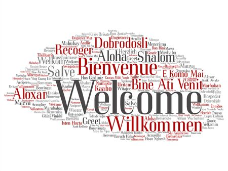 Vector concept or conceptual abstract welcome or greeting international word cloud in different languages or multilingual. Collage of world, foreign, worldwide travel, translate, vacation tourism text Stock Illustratie
