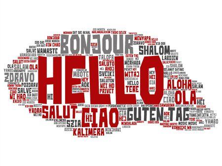 Concepto de vector o hola abstracto conceptual o saludo nube de palabras de turismo internacional en diferentes idiomas o multilingües. Collage de mundo, extranjero, viajes por todo el mundo, traducir, texto de vacaciones