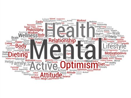 Vector concept or conceptual mental health or positive thinking abstract word cloud isolated background. Collage of optimism, psychology, mind, healthcare, thinking, attitude balnce or motivation text