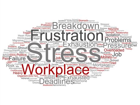 Vector concept conceptual mental stress at workplace or job pressure abstract word cloud isolated background. Collage of health, work, depression problem, exhaustion, breakdown, deadlines risk text Ilustração Vetorial