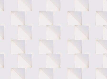 Modello 3D fatto di forme geometriche bianche e beige, sfondo creativo o superficie di carta da parati fatta di luce e ombra. Futuristico design decorativo astratto senza cuciture, elementi grafici semplici simple Archivio Fotografico